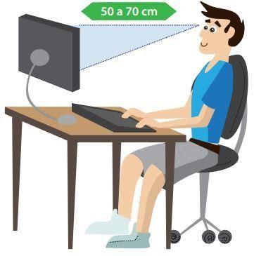 É possível subir ou descer o seu monitor de vídeo ou o notebook de forma que a borda superior da tela esteja alinhada com o nível dos seus olhos?